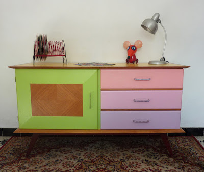 meubles peints, dégradé de rose