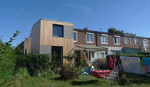 Rénovation écologique, maison individuelle  Villeneuve d'Ascq bardage bois, isolation thermique écologique