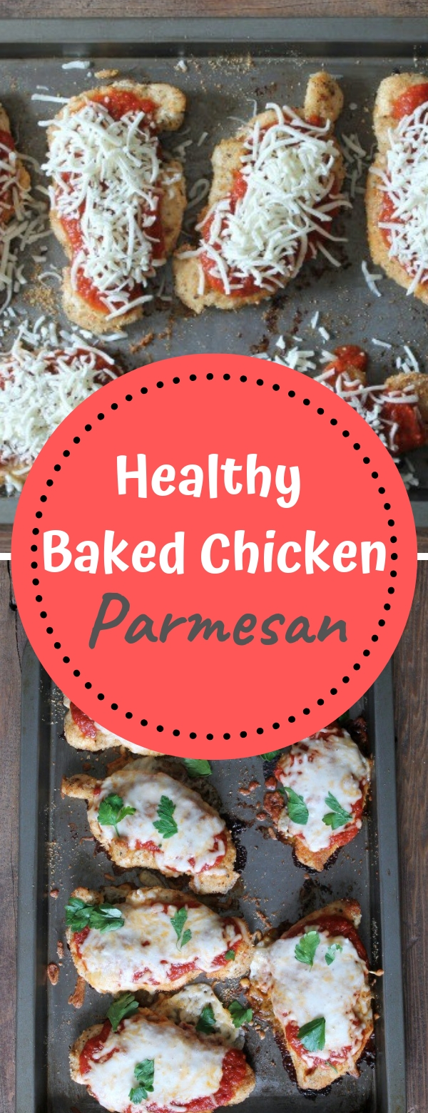 Healthy Baked Chicken Parmesan #healthy #baked #chicken #parmesan #healthyfood #deliciousfood