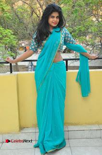 Telugu Actress Alekhya Stills in Green Saree at Swachh Hyderabad Cricket Press Meet  0083.JPG