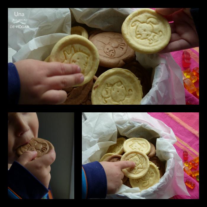 niños comiendo galletas caseras de chocolate y mantequilla