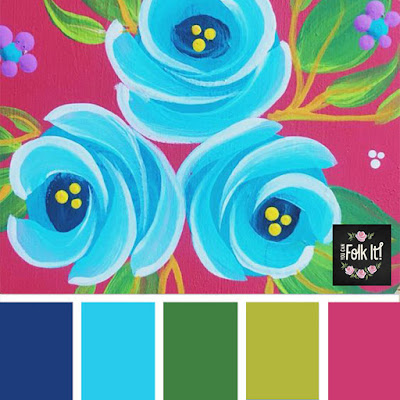 Vintage roses can be painted in any colour, including this gorgeous tropical inspired colour palette