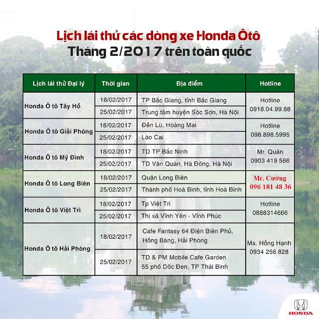 Lịch lái thử xe Honda Ô Tô