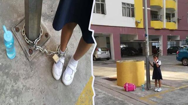 Ibu Ini Tega Rantai Kaki Anaknya di Tiang Lampu, Karena Tidak Mau Les Bahasa Mandarin Di Malaysia.