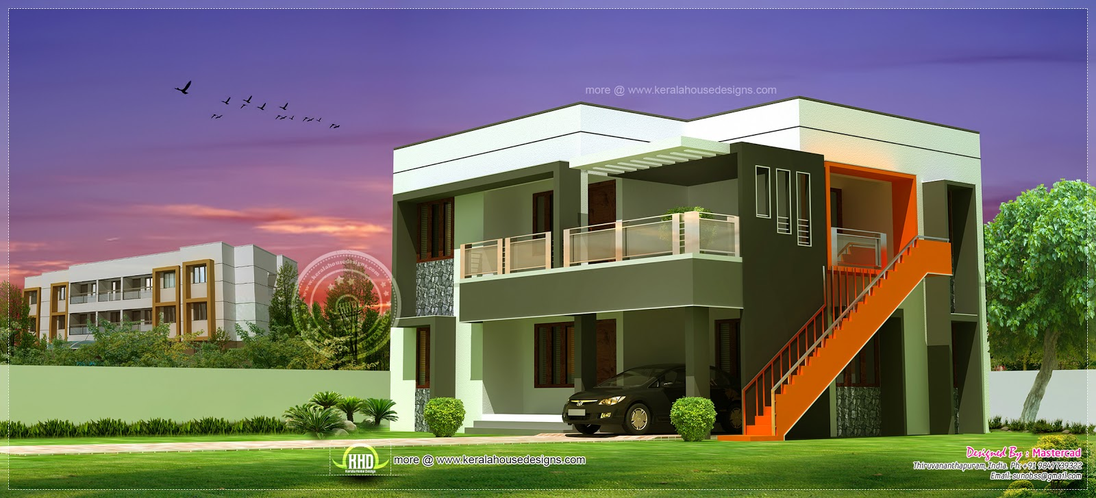 1811 square feet contemporary house exterior kerala home for Exterior indian house paint