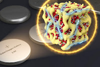 In a new concept for battery cathodes, nanometer-scale particles made of lithium and oxygen compounds (depicted in red and white) are embedded in a sponge-like lattice (yellow) of cobalt oxide, which keeps them stable. The researchers propose that the material could be packaged in batteries that are very similar to conventional sealed batteries yet provide much more energy for their weight. (Credit: Ju Li, the Battelle Energy Alliance Professor of Nuclear Science and Engineering at MIT; postdoc Zhi Zhu; and five others at MIT, Argonne National Laboratory, and Peking University in China) Click to Enlarge.