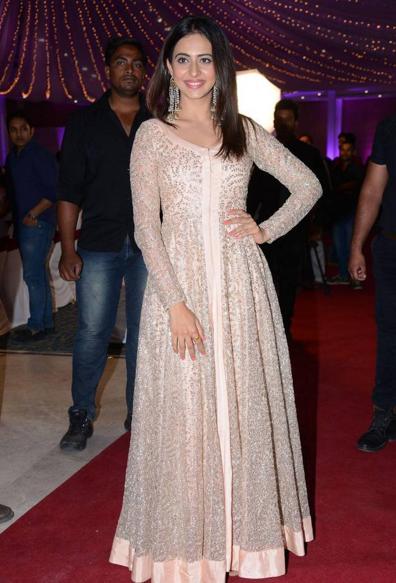 Rakul Preet Singh Photos At Wedding Reception In Long Pink Dress