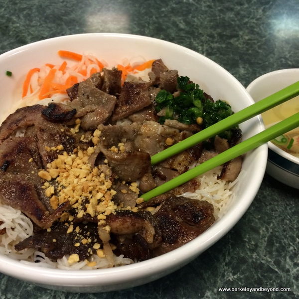 vermicelli noodles with barbecue-pork topping at Pho Saigon II in Richmond, California