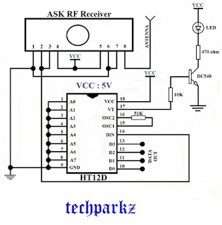 433MHZ RF circuit, ASK RF transmitter and receiver circuit diagram, circuit images, RF transmitter and receiver circuit diagram, wireless communication, wireless data transfer, wireless protocol.,