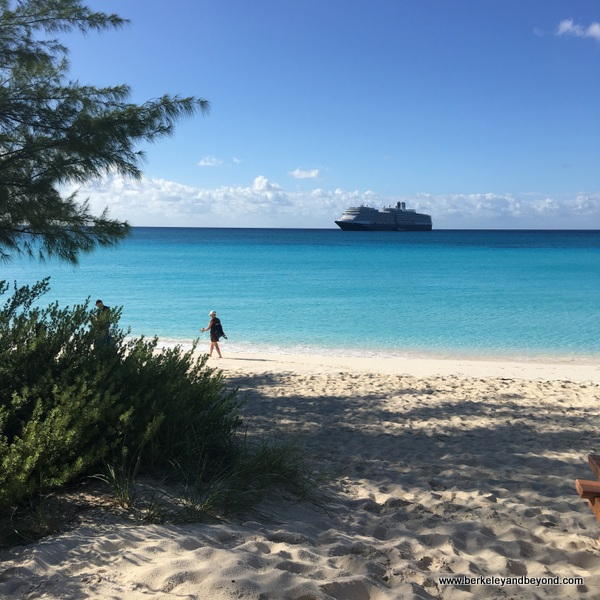 Half Moon Cay, Bahamas, in the foreground, Holland America Line's Nieuw Amsterdam ship in the background