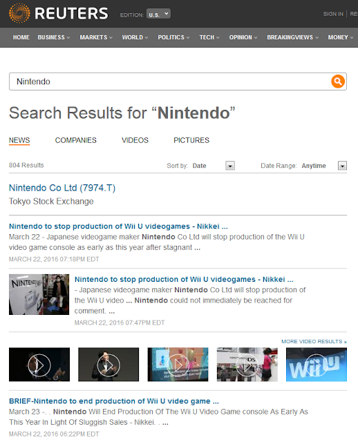 Reuters Nintendo Wii U Nikkei report without response production stop