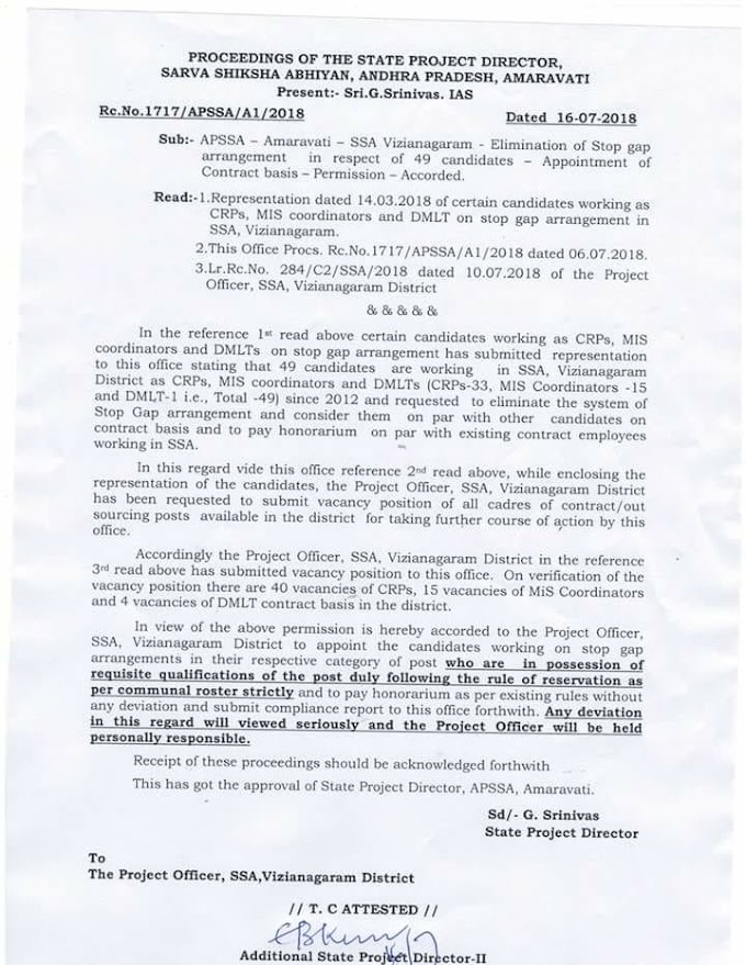 Vizianagaram District - Elimination of Stop Gap Arrangement in respect of 49 Candidates Appointment of Contract basis