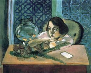 Mulher Diante de um Aquário - Pinturas de Matisse, Henri - (Fauvismo) Francês