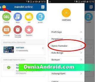 menu status transaksi mandiri mobile