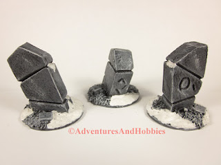 Group of three stone monuments for Frostgrave 25-28 mm scale scenery - rear view.