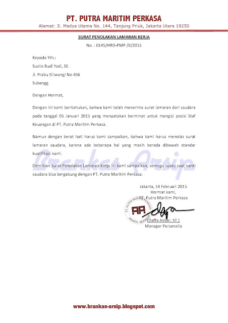 surat penolakan lamaran kerja