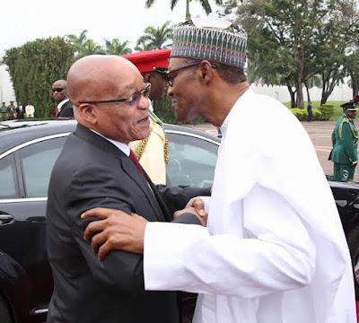 President Buhari receives jacob Zuma in Nigeria
