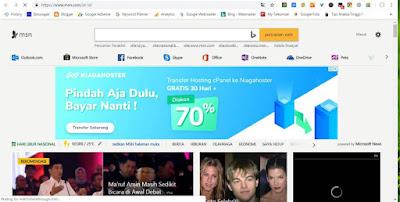 Tampilan Mesin Pencari MSN