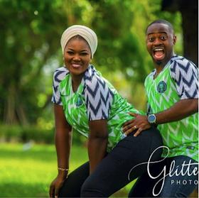 Wonderful Couple Rocks With Nigeria Jersey In Doggy  Pre Wedding Photos