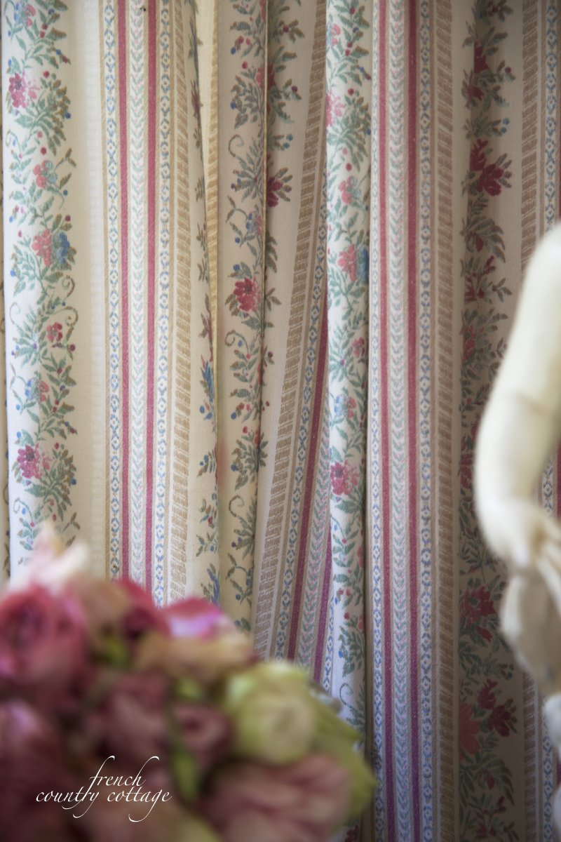Vintage French Ticking Curtains French Country Cottage