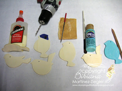 tutorial wood bird name tag with decoart step 1