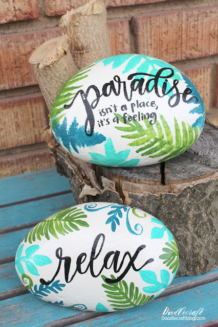 Tropical vibe painted rocks - paradise isn't a place it's a feeling and relax