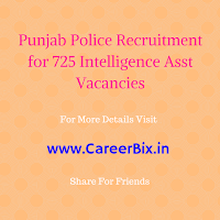 Punjab Police Recruitment for 725 Intelligence Asst Vacancies