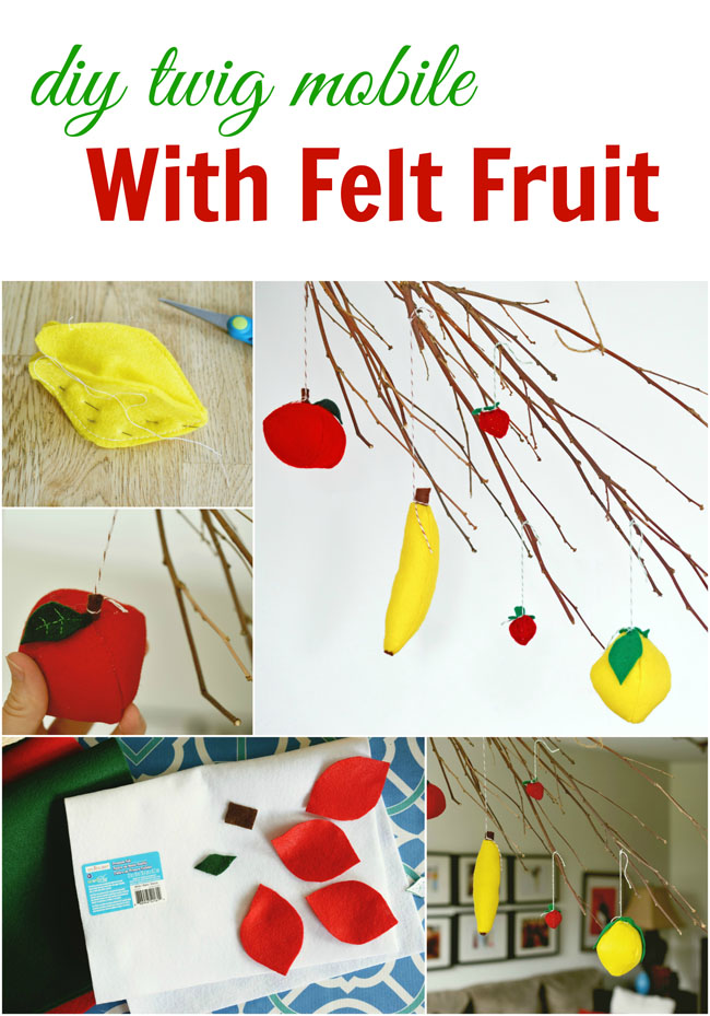 Diy Rustic Branch & Felt Fruit Mobile - simple and inexpensive project to add a touch of whimsy to your home #crafts #felt #diy #decor
