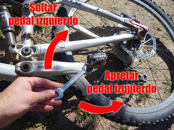 para soltar el pedal izquierdo la rosca es al reves