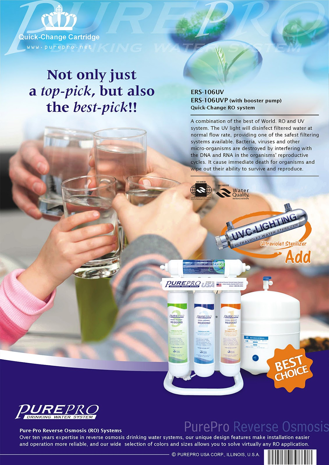 PurePro® USA ERS-106UV-P Quick-Change Reverse Osmosis Water Filter Systems