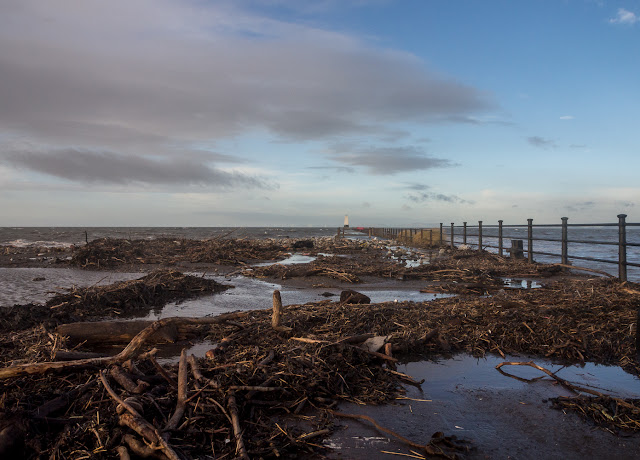 Photo of storm debris on Maryport pier
