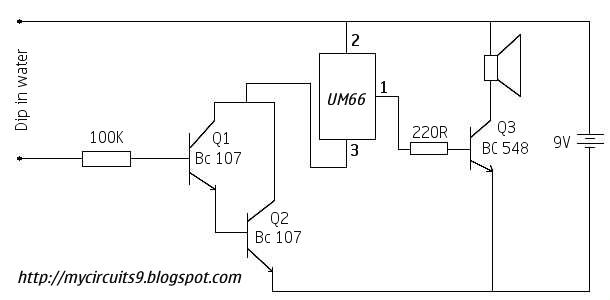 My Circuits 9: SIMPLE WATER TANK OVERFLOW ALARM CIRCUIT