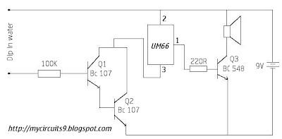 circuit diagram simple water overflow alarm