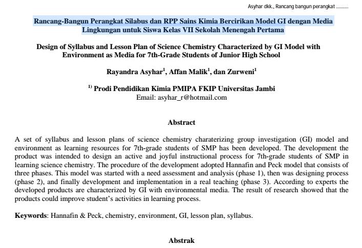Rancang-Bangun Perangkat Silabus dan RPP Sains Kimia  Siswa Kelas VII Sekolah Menengah Pertama