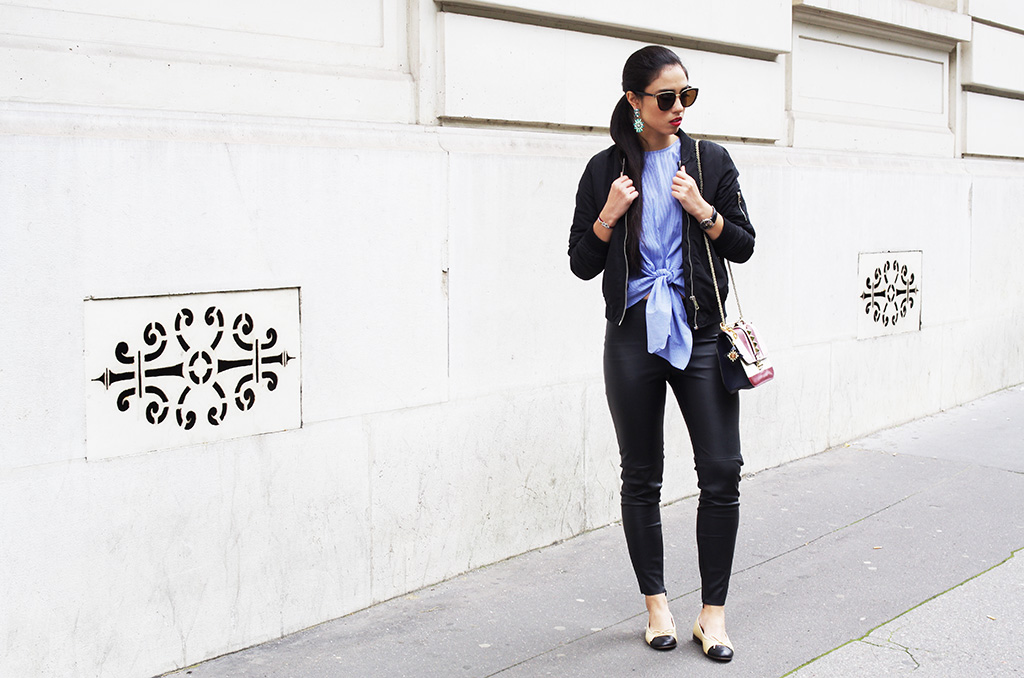 Elizabeth l Knotted shirt outfit l Bomber jacket leather pants stripes quay australia sunglasses valentino bag l THEDEETSONE l http://thedeestone.blogspot.fr
