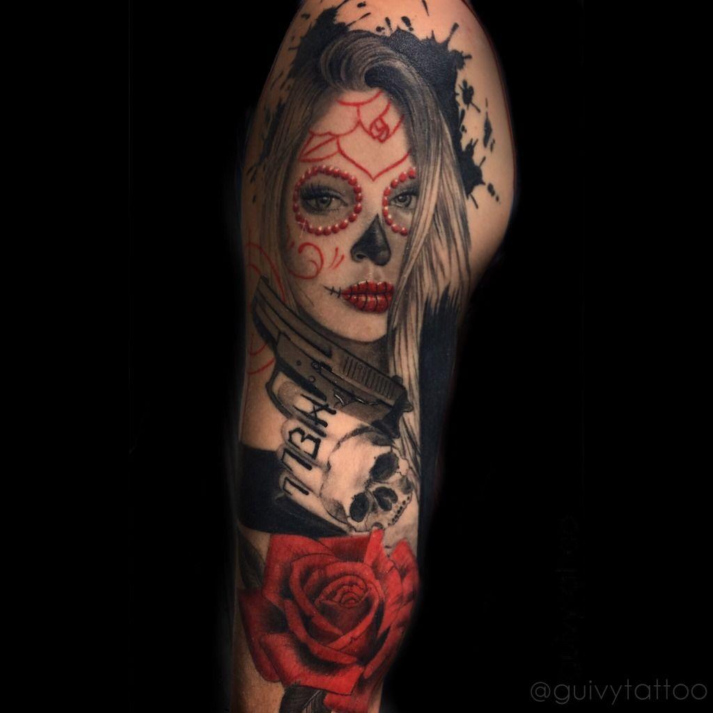 foto de una catrina tatuada