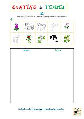 Gunting dan Tempelkan Gambar Sesuai Kategori Hewan Vs Bunga