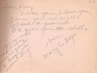 Mary Lee Hodges in autograph book belonging to Mary Davis Slade 1940-41
