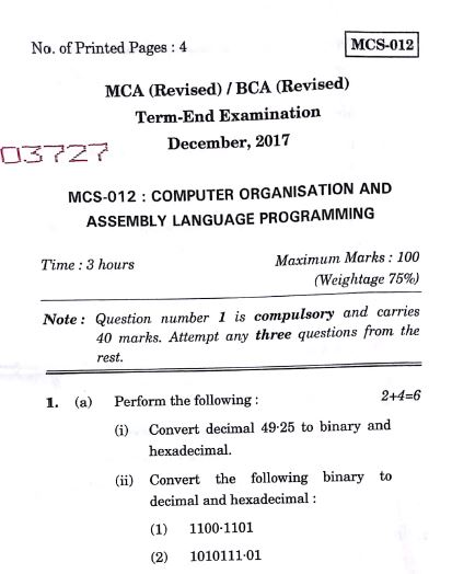 MCS-012 Previous Question Papers IGNOU MCA and BCA