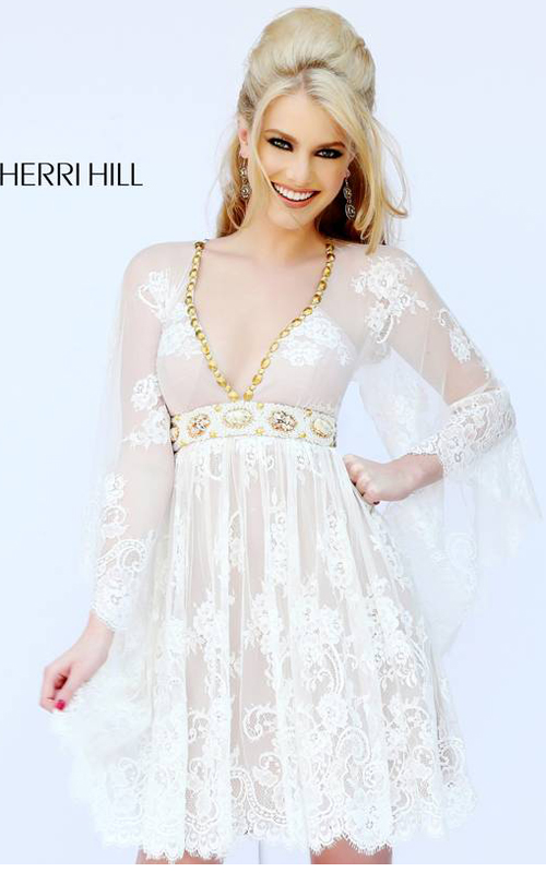 8f35917ba1f56f Plunging Lace Vintage Cocktail Dress by Sherri Hill. Allover delicate white  lace covers the bell sleeves, deep