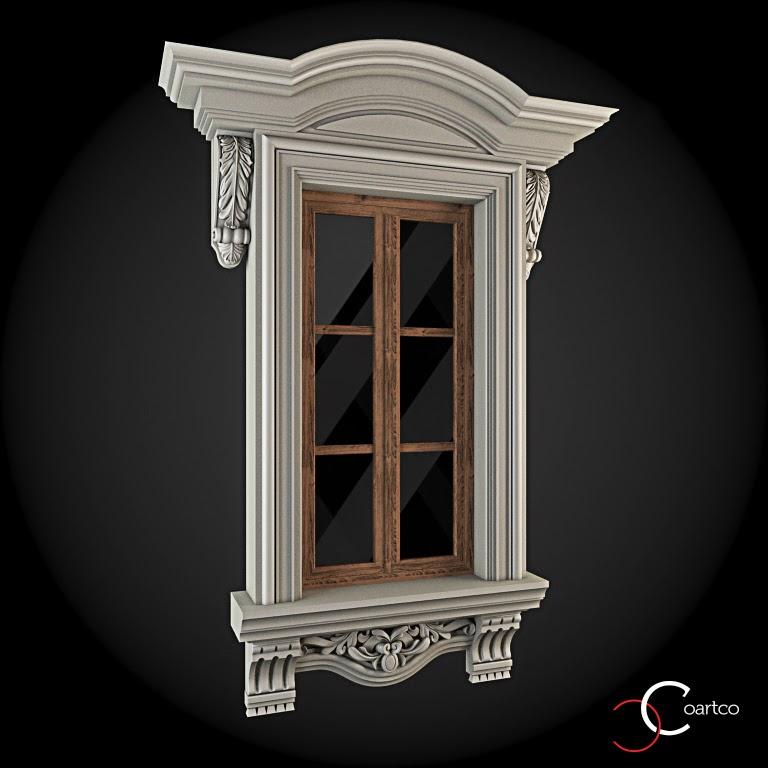 Ornamente Geamuri Exterior, fatade case cu profile decorative polistiren, profile fatada,  Model Cod: WIN-060