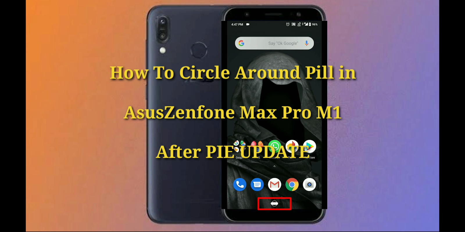 How to remove circle on home button after pie update in Asus