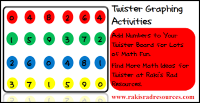 Free resource - using twister to teach graphing from Raki's Rad Resources.