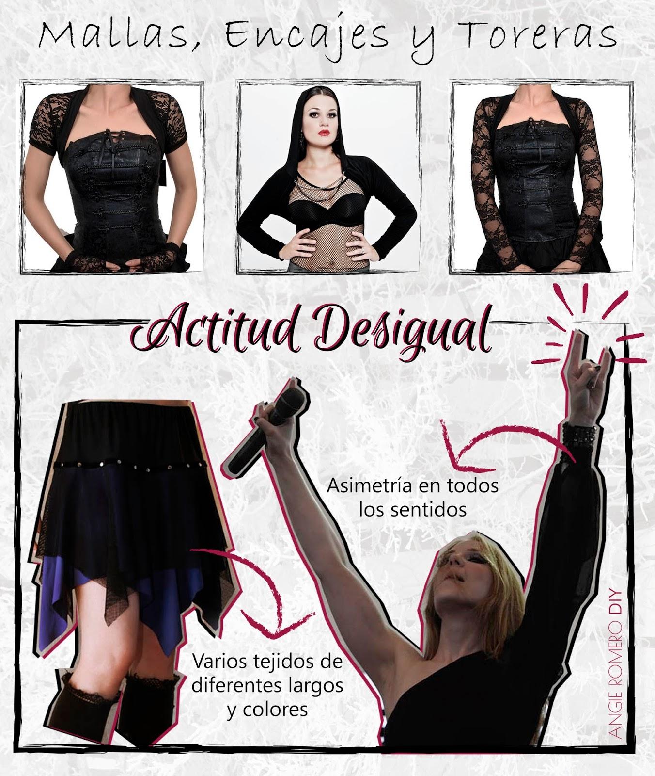Colección de moda al estilo gótico con encajes, mallas y asimetría