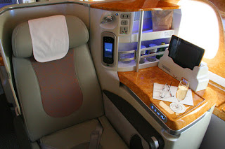 Emirates Business Class seat with ICE controls