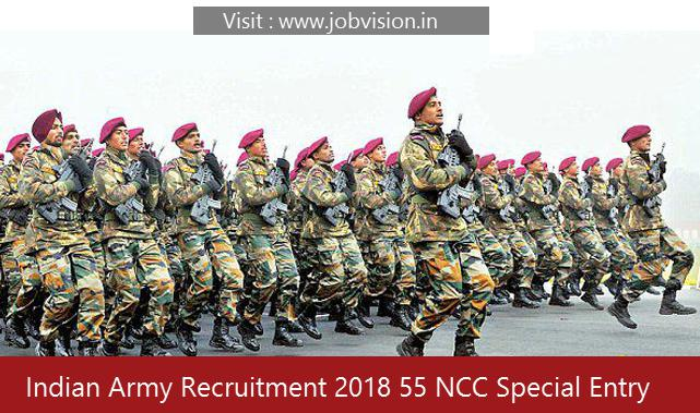 Indian Army Recruitment 2018 55 NCC Special Entry Scheme Posts