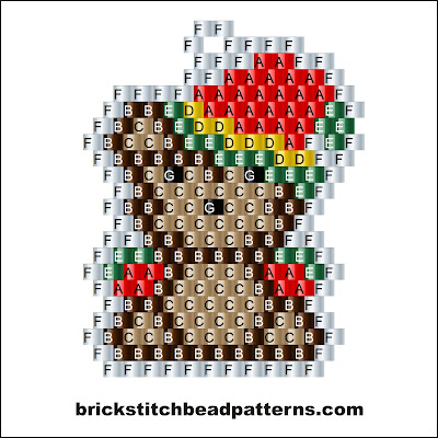 Click for a larger image of the Cute Christmas Teddy Bear brick stitch bead pattern labeled color chart.
