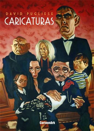 Tapa con caricatura de Los Locos Addams pintada en acrílico por el dibujante David Pugliese