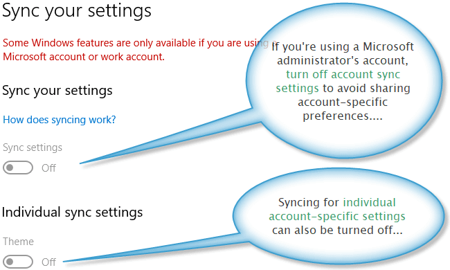 Microsoft account data syncing settings