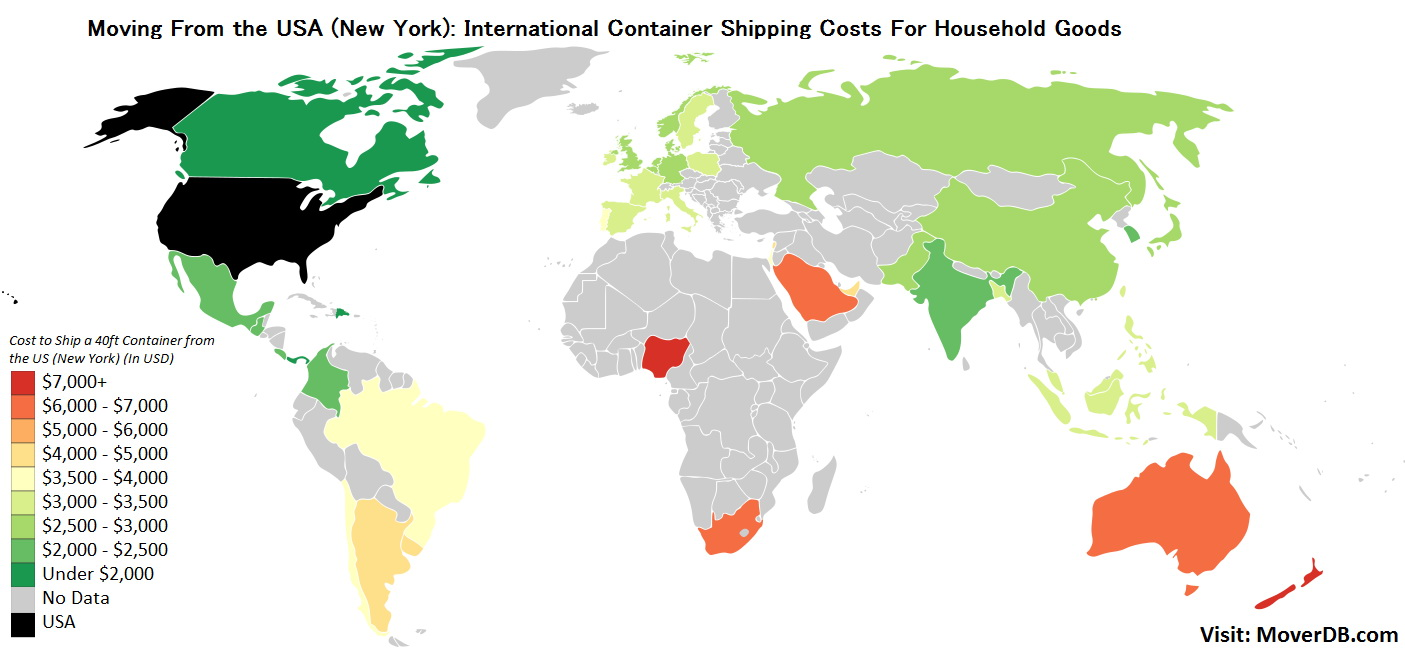 International Container shipping rates from New York